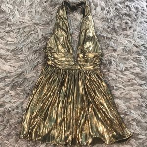 Nasty gal gold plunging dress